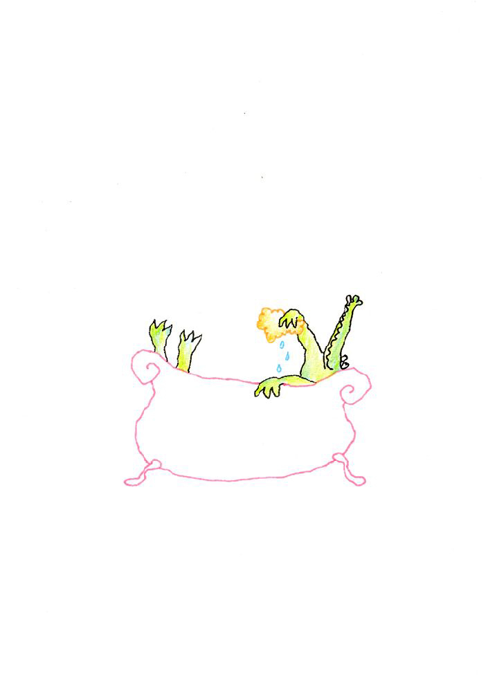 tekening van een krokodil in bad