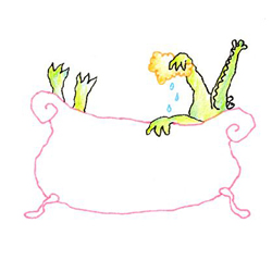 Krokodil in bad - originele illustratie, 20x20cm, € 65,-